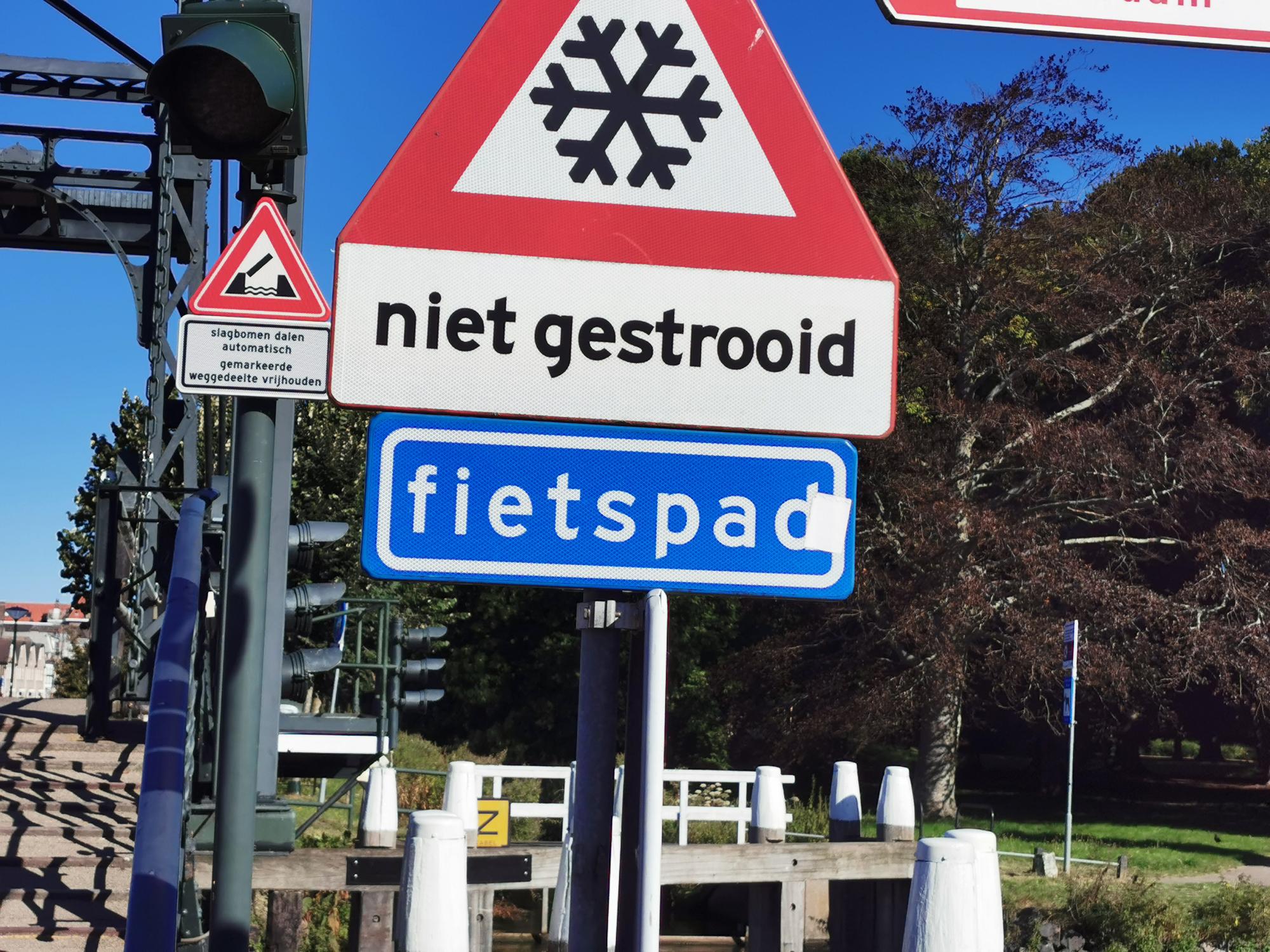 Niet gestrooid Verkeersbord